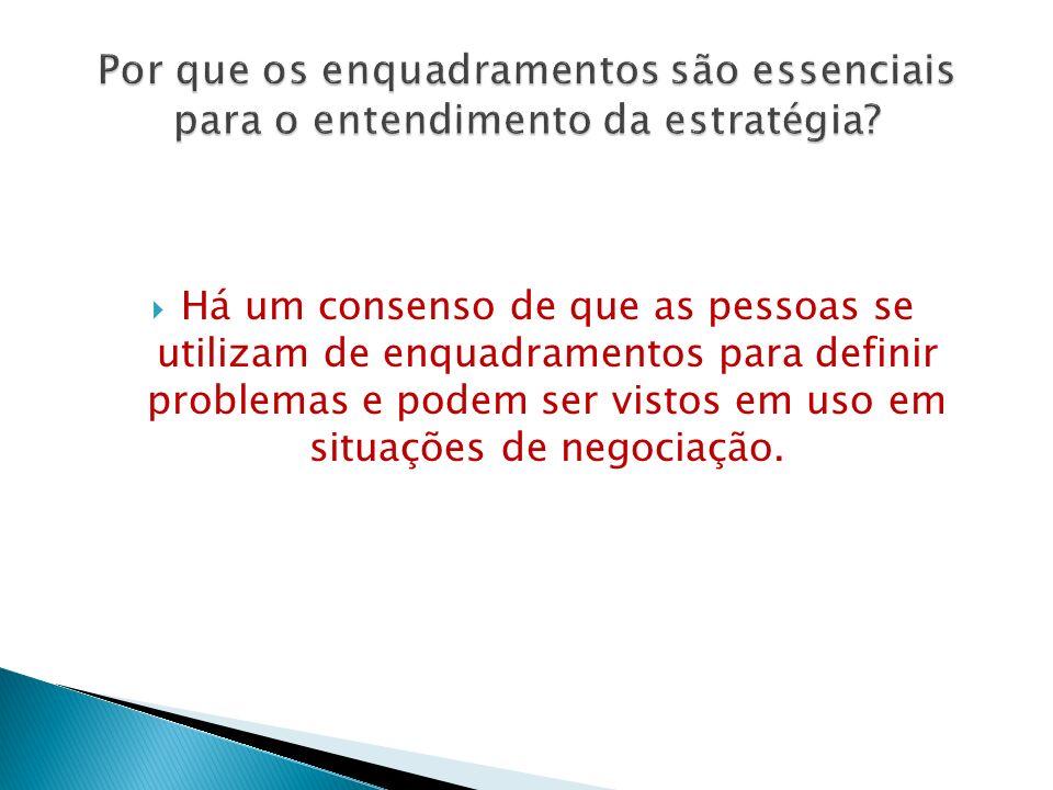  Há um consenso de que as pessoas se utilizam de enquadramentos para definir problemas e podem ser vistos em uso em situações de negociação.