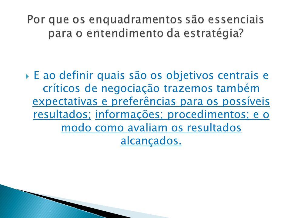  E ao definir quais são os objetivos centrais e críticos de negociação trazemos também expectativas e preferências para os possíveis resultados; informações; procedimentos; e o modo como avaliam os resultados alcançados.