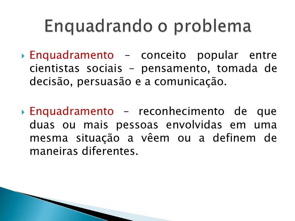  Enquadramento – conceito popular entre cientistas sociais – pensamento, tomada de decisão, persuasão e a comunicação.