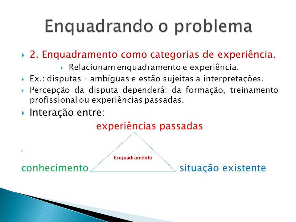  2. Enquadramento como categorias de experiência.