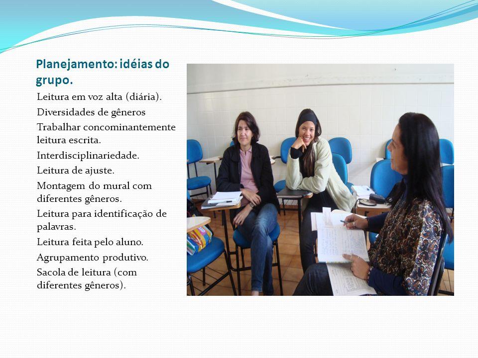 Planejamento: idéias do grupo. Leitura em voz alta (diária). Diversidades de gêneros Trabalhar concominantemente leitura escrita. Interdisciplinarieda