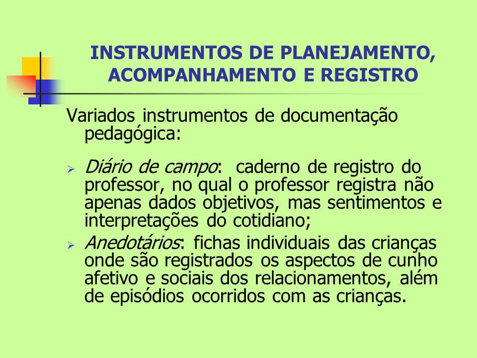  Diário de aula: instrumento no qual o professor planeja suas atividades e relata os acontecimentos, podendo servir como fonte de informação e subsídio para reflexão.