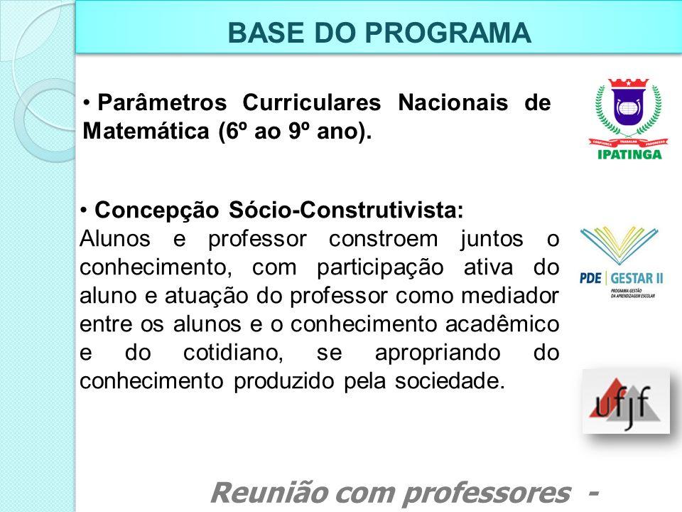 DURAÇÃO DO PROGRAMA Reunião com professores - Março de 2011