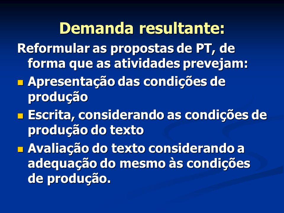 Demanda resultante: Reformular as propostas de PT, de forma que as atividades prevejam: Apresentação das condições de produção Apresentação das condiç