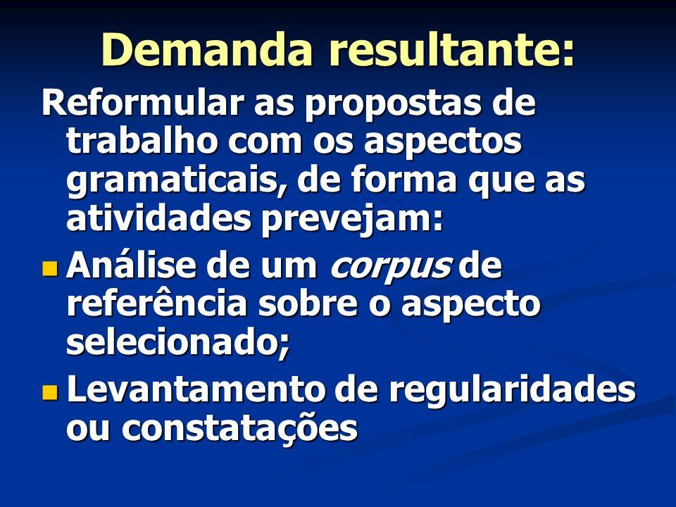Demanda resultante: Reformular as propostas de trabalho com os aspectos gramaticais, de forma que as atividades prevejam: Análise de um corpus de refe