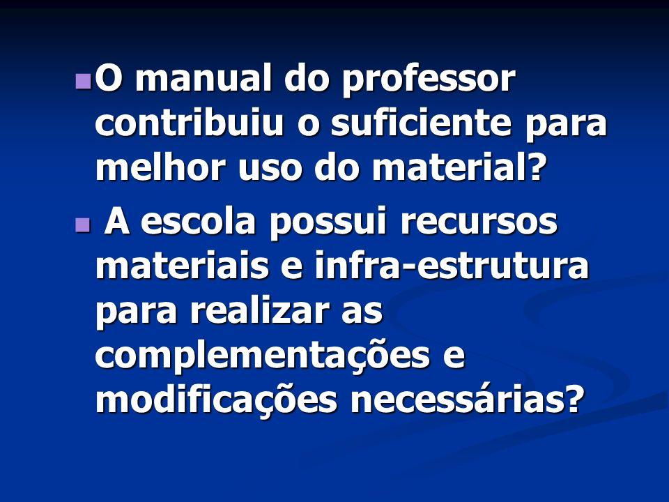 O manual do professor contribuiu o suficiente para melhor uso do material? O manual do professor contribuiu o suficiente para melhor uso do material?