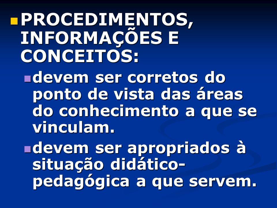PROCEDIMENTOS, INFORMAÇÕES E CONCEITOS: PROCEDIMENTOS, INFORMAÇÕES E CONCEITOS: devem ser corretos do ponto de vista das áreas do conhecimento a que s