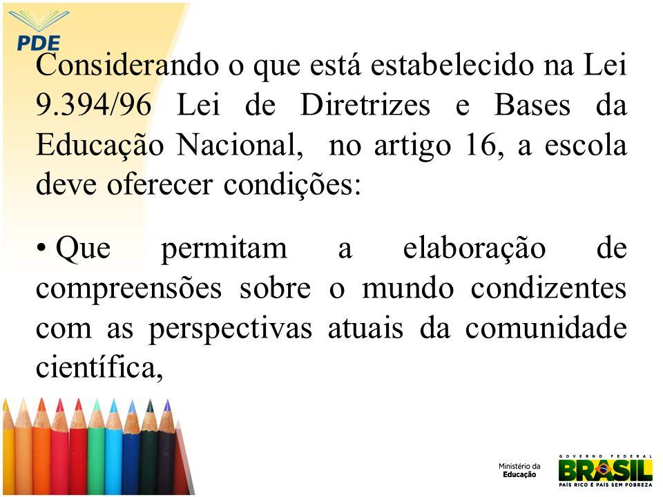 Considerando o que está estabelecido na Lei 9.394/96 Lei de Diretrizes e Bases da Educação Nacional, no artigo 16, a escola deve oferecer condições: Q