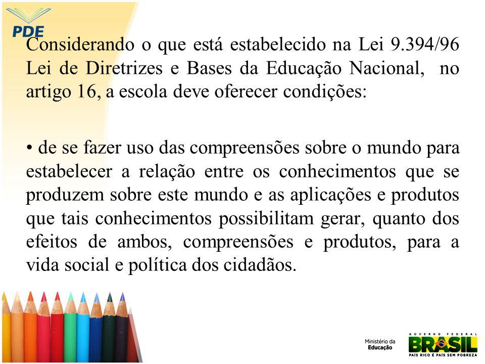 Considerando o que está estabelecido na Lei 9.394/96 Lei de Diretrizes e Bases da Educação Nacional, no artigo 16, a escola deve oferecer condições: d