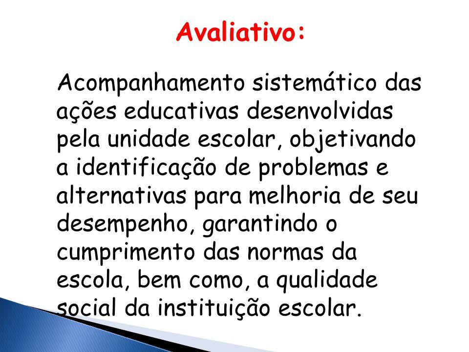 Avaliativo: Acompanhamento sistemático das ações educativas desenvolvidas pela unidade escolar, objetivando a identificação de problemas e alternativas para melhoria de seu desempenho, garantindo o cumprimento das normas da escola, bem como, a qualidade social da instituição escolar.