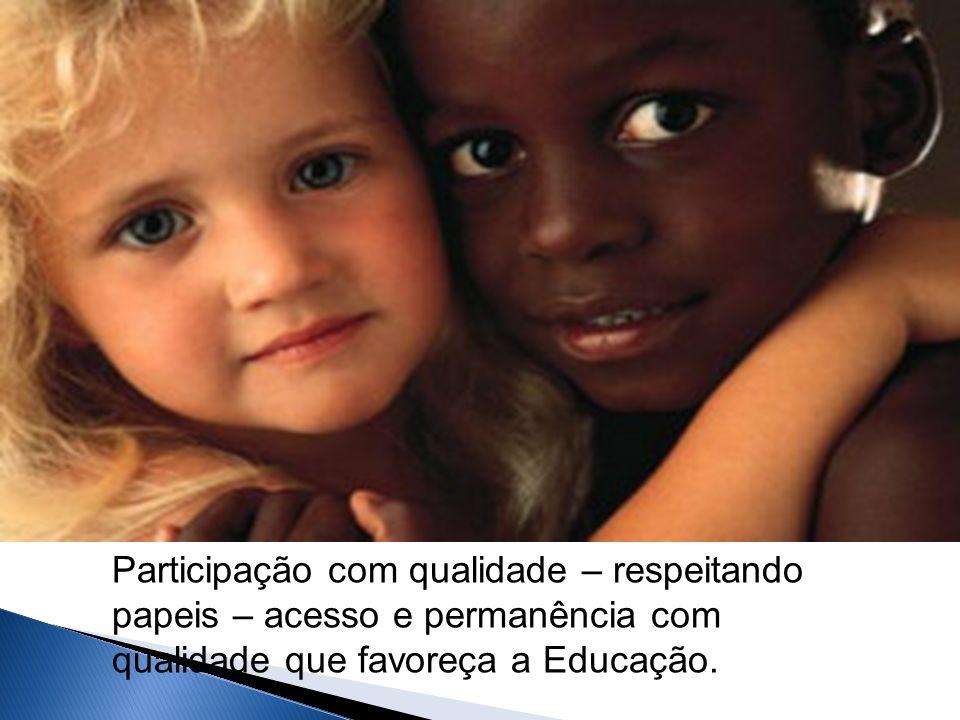 Participação com qualidade – respeitando papeis – acesso e permanência com qualidade que favoreça a Educação.