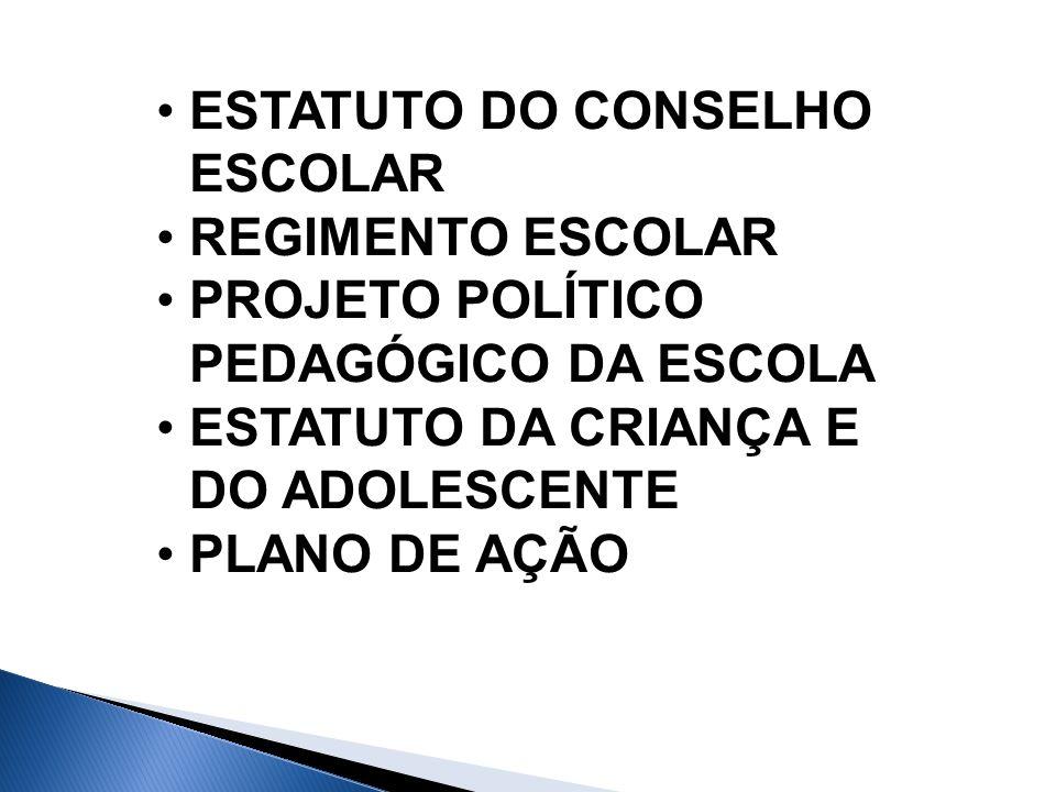 ESTATUTO DO CONSELHO ESCOLAR REGIMENTO ESCOLAR PROJETO POLÍTICO PEDAGÓGICO DA ESCOLA ESTATUTO DA CRIANÇA E DO ADOLESCENTE PLANO DE AÇÃO