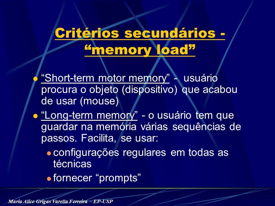 Maria Alice Grigas Varella Ferreira – EP-USP Critérios secundários - memory load Short-term motor memory - usuário procura o objeto (dispositivo) que acabou de usar (mouse) Long-term memory - o usuário tem que guardar na memória várias sequências de passos.