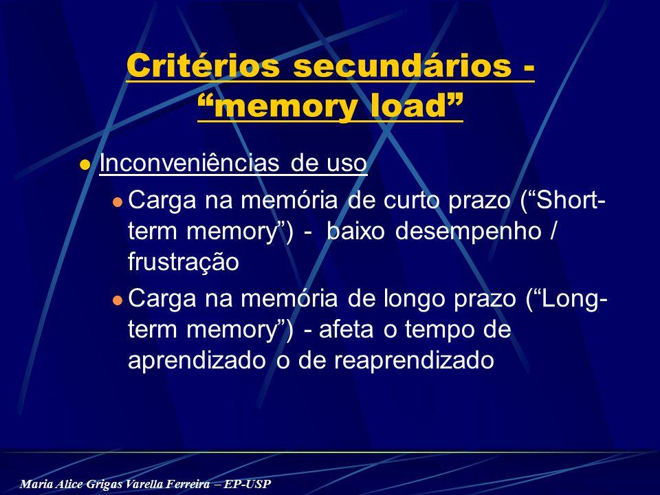 Maria Alice Grigas Varella Ferreira – EP-USP Critérios secundários - memory load Inconveniências de uso Carga na memória de curto prazo ( Short- term memory ) - baixo desempenho / frustração Carga na memória de longo prazo ( Long- term memory ) - afeta o tempo de aprendizado o de reaprendizado
