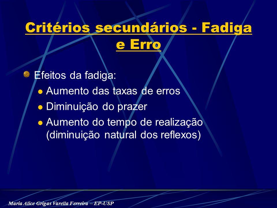 Maria Alice Grigas Varella Ferreira – EP-USP Critérios secundários - Fadiga e Erro Efeitos da fadiga: Aumento das taxas de erros Diminuição do prazer Aumento do tempo de realização (diminuição natural dos reflexos)