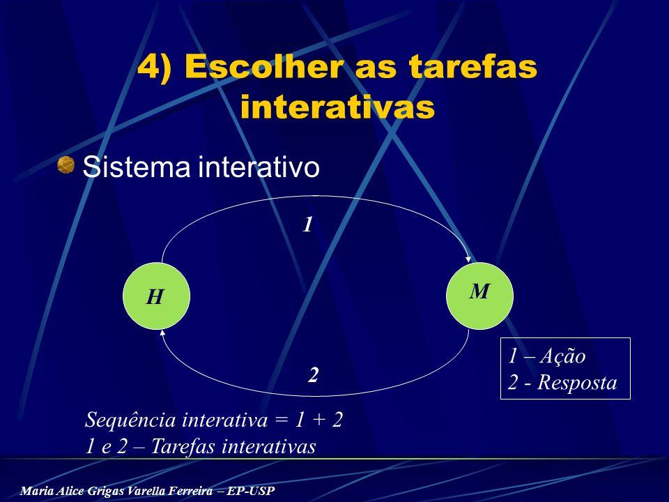 Maria Alice Grigas Varella Ferreira – EP-USP 4) Escolher as tarefas interativas Sistema interativo H M 2 1 1 – Ação 2 - Resposta Sequência interativa = 1 + 2 1 e 2 – Tarefas interativas