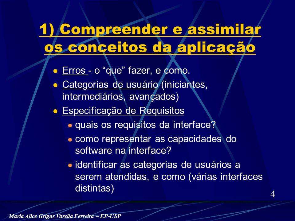 Maria Alice Grigas Varella Ferreira – EP-USP 1) Compreender e assimilar os conceitos da aplicação Erros - o que fazer, e como.
