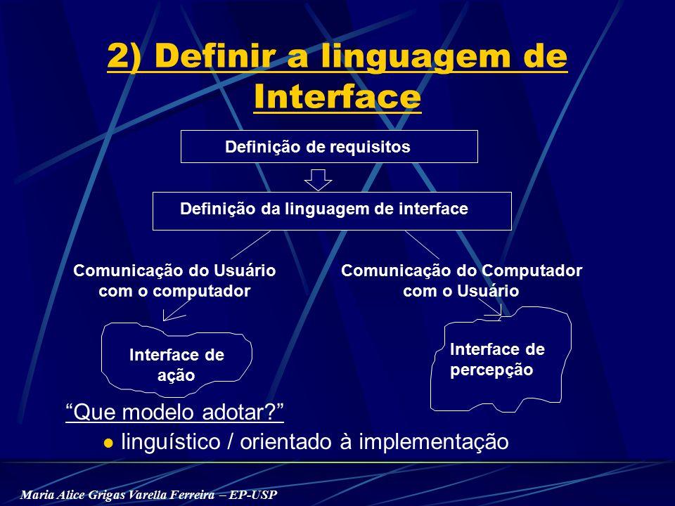 Maria Alice Grigas Varella Ferreira – EP-USP Que modelo adotar linguístico / orientado à implementação Interface de percepção 2) Definir a linguagem de Interface Definição de requisitos Definição da linguagem de interface Comunicação do Usuário com o computador Comunicação do Computador com o Usuário Interface de ação