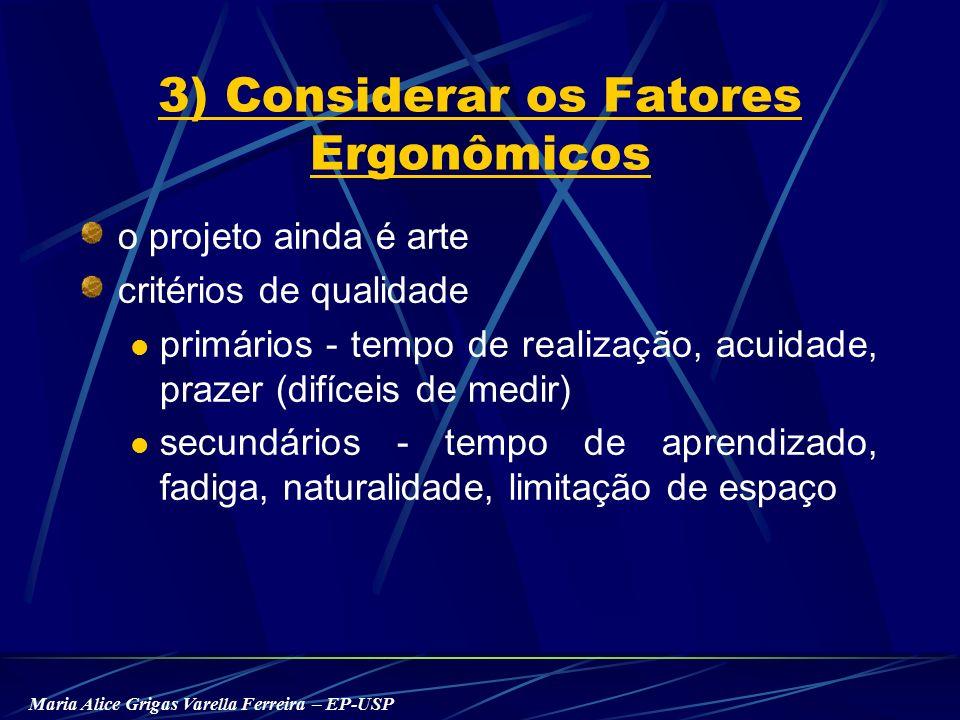 Maria Alice Grigas Varella Ferreira – EP-USP 3) Considerar os Fatores Ergonômicos o projeto ainda é arte critérios de qualidade primários - tempo de realização, acuidade, prazer (difíceis de medir) secundários - tempo de aprendizado, fadiga, naturalidade, limitação de espaço