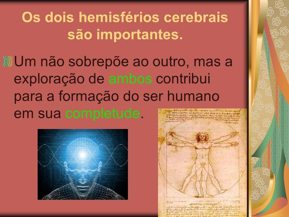 Os dois hemisférios cerebrais são importantes.