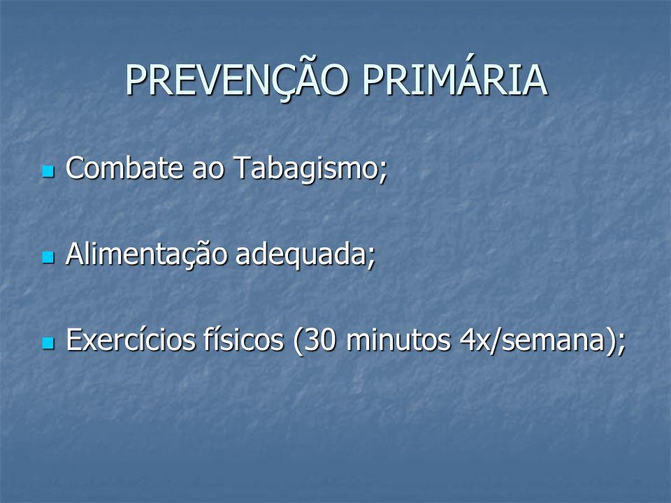 PREVENÇÃO PRIMÁRIA Combate ao Tabagismo; Combate ao Tabagismo; Alimentação adequada; Alimentação adequada; Exercícios físicos (30 minutos 4x/semana);