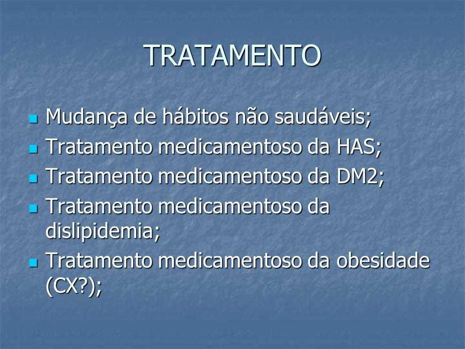 TRATAMENTO Mudança de hábitos não saudáveis; Mudança de hábitos não saudáveis; Tratamento medicamentoso da HAS; Tratamento medicamentoso da HAS; Trata