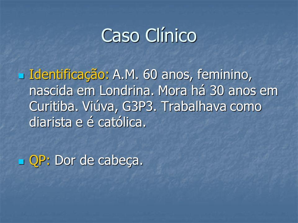 Caso Clínico Identificação: A.M. 60 anos, feminino, nascida em Londrina. Mora há 30 anos em Curitiba. Viúva, G3P3. Trabalhava como diarista e é católi