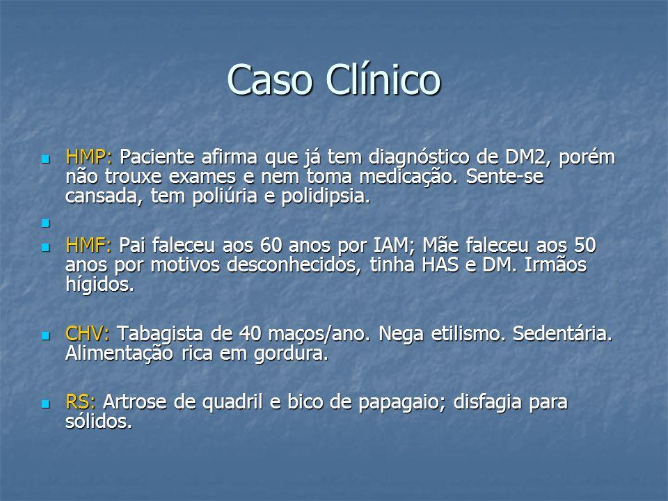 Caso Clínico HMP: Paciente afirma que já tem diagnóstico de DM2, porém não trouxe exames e nem toma medicação. Sente-se cansada, tem poliúria e polidi