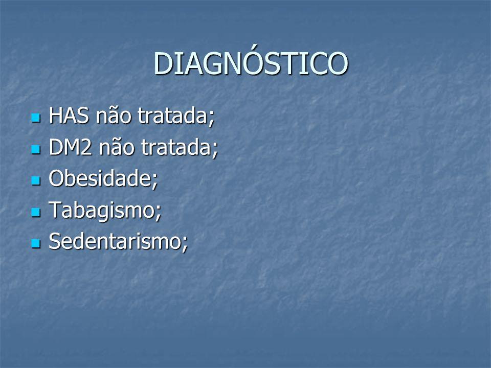 DIAGNÓSTICO DIAGNÓSTICO HAS não tratada; HAS não tratada; DM2 não tratada; DM2 não tratada; Obesidade; Obesidade; Tabagismo; Tabagismo; Sedentarismo;