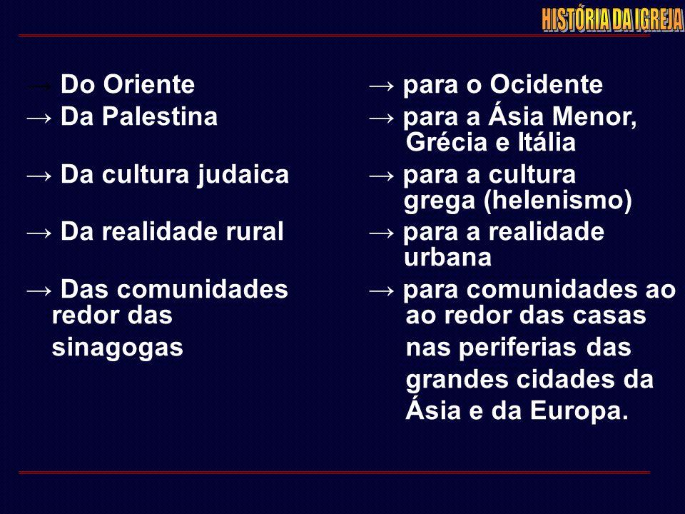 → Do Oriente→ para o Ocidente → Da Palestina→ para a Ásia Menor, Grécia e Itália → Da cultura judaica→ para a cultura grega (helenismo) → Da realidade