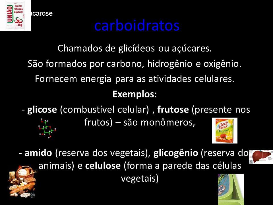 carboidratos Chamados de glicídeos ou açúcares. São formados por carbono, hidrogênio e oxigênio.