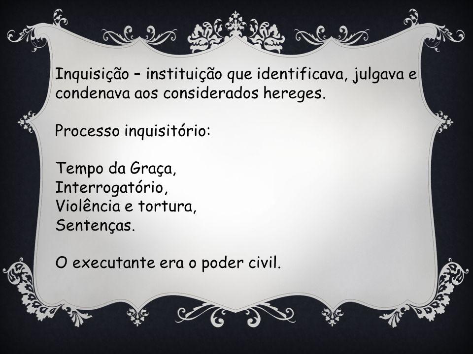 Inquisição – instituição que identificava, julgava e condenava aos considerados hereges.