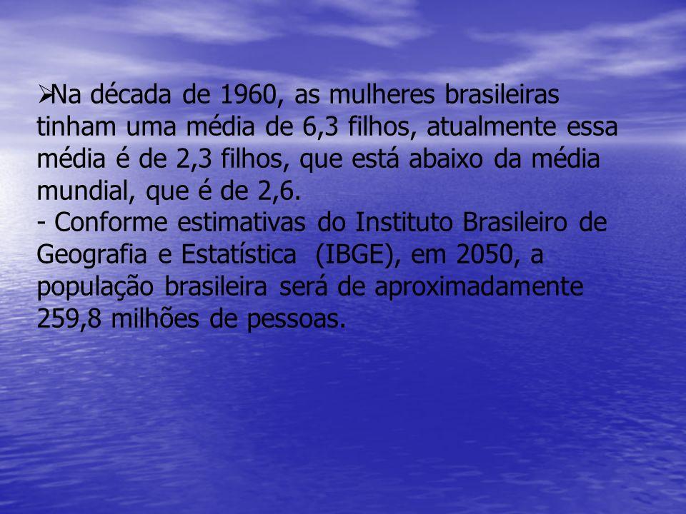   Na década de 1960, as mulheres brasileiras tinham uma média de 6,3 filhos, atualmente essa média é de 2,3 filhos, que está abaixo da média mundial, que é de 2,6.