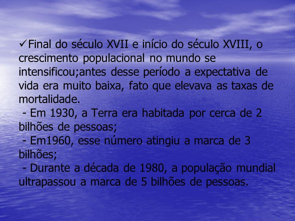 Final do século XVII e início do século XVIII, o crescimento populacional no mundo se intensificou;antes desse período a expectativa de vida era muito baixa, fato que elevava as taxas de mortalidade.