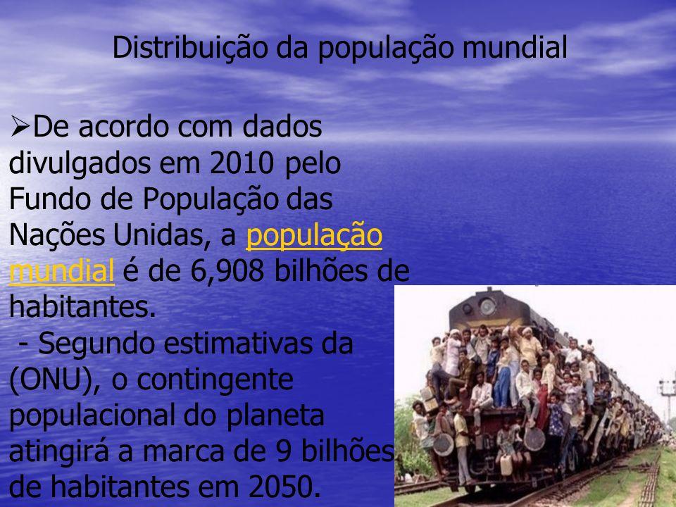   De acordo com dados divulgados em 2010 pelo Fundo de População das Nações Unidas, a população mundial é de 6,908 bilhões de habitantes.
