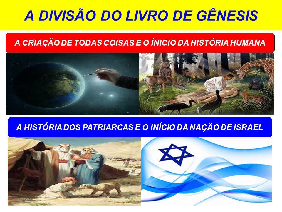 A DIVISÃO DO LIVRO DE GÊNESIS A HISTÓRIA DOS PATRIARCAS E O INÍCIO DA NAÇÃO DE ISRAEL A CRIAÇÃO DE TODAS COISAS E O ÍNICIO DA HISTÓRIA HUMANA