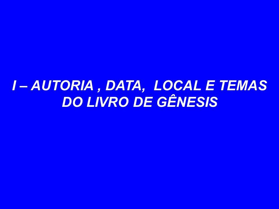 I – AUTORIA, DATA, LOCAL E TEMAS DO LIVRO DE GÊNESIS