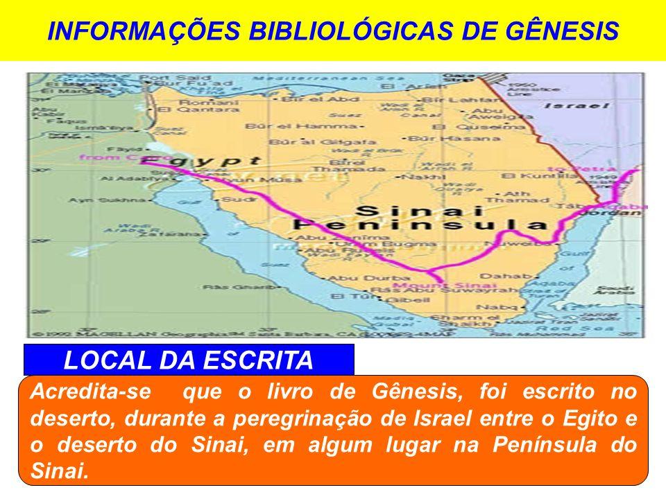 INFORMAÇÕES BIBLIOLÓGICAS DE GÊNESIS LOCAL DA ESCRITA Acredita-se que o livro de Gênesis, foi escrito no deserto, durante a peregrinação de Israel ent