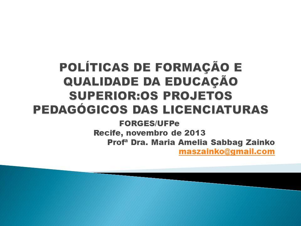 FORGES/UFPe Recife, novembro de 2013 Profª Dra. Maria Amelia Sabbag Zainko maszainko@gmail.com
