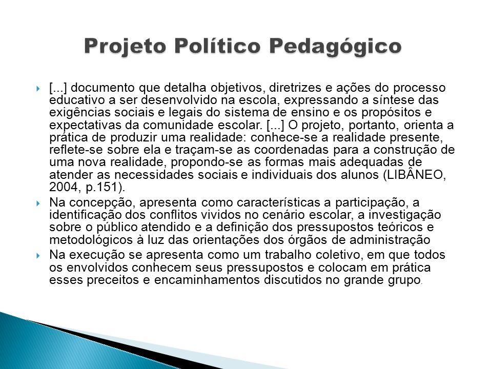  [...] documento que detalha objetivos, diretrizes e ações do processo educativo a ser desenvolvido na escola, expressando a síntese das exigências sociais e legais do sistema de ensino e os propósitos e expectativas da comunidade escolar.