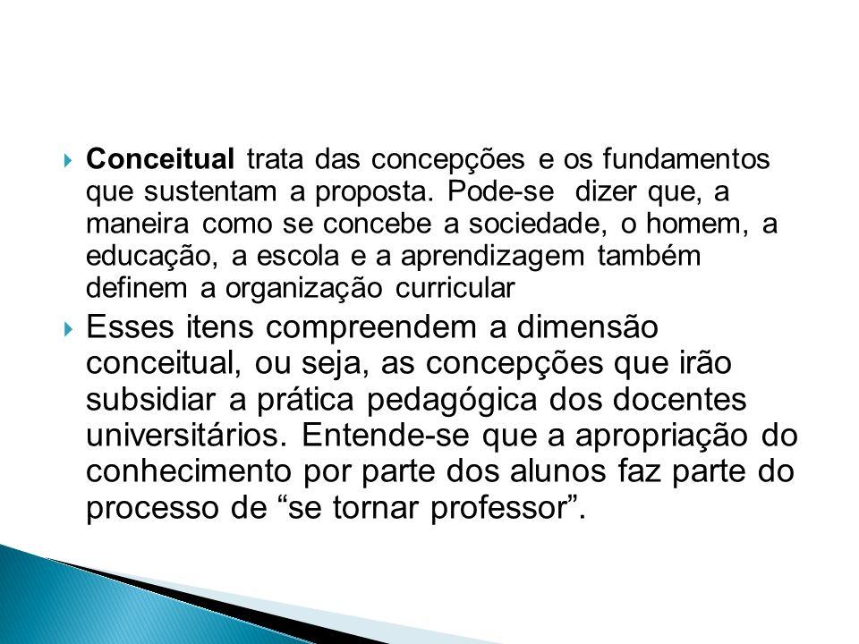  Conceitual trata das concepções e os fundamentos que sustentam a proposta.