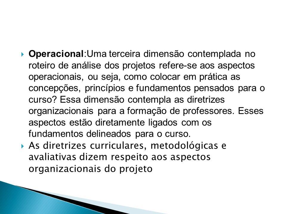  Operacional:Uma terceira dimensão contemplada no roteiro de análise dos projetos refere-se aos aspectos operacionais, ou seja, como colocar em prática as concepções, princípios e fundamentos pensados para o curso.