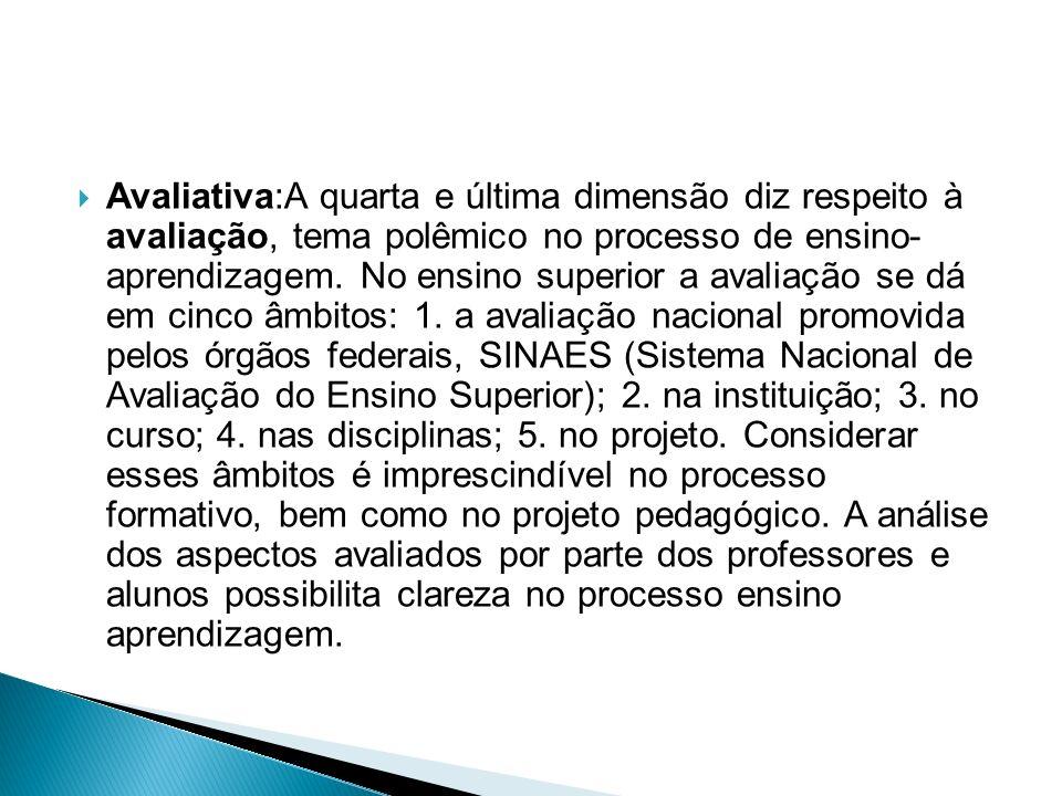  Avaliativa:A quarta e última dimensão diz respeito à avaliação, tema polêmico no processo de ensino- aprendizagem.