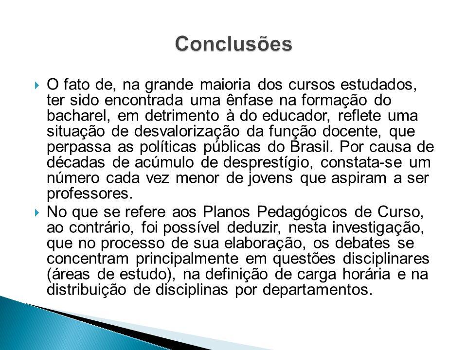  O fato de, na grande maioria dos cursos estudados, ter sido encontrada uma ênfase na formação do bacharel, em detrimento à do educador, reflete uma situação de desvalorização da função docente, que perpassa as políticas públicas do Brasil.