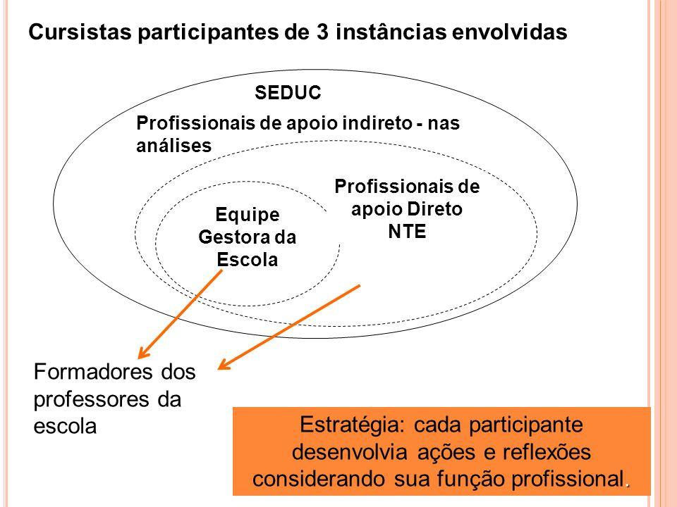 Profissionais de apoio indireto - nas análises Equipe Gestora da Escola Profissionais de apoio Direto NTE Cursistas participantes de 3 instâncias envolvidas de.