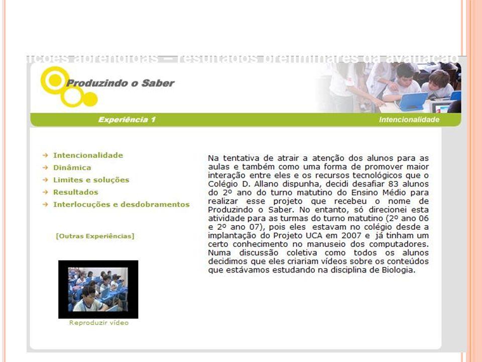 Experimento Fase 1 – Escola de Palmas, TO apresentação de alguns aspectos, referentes às Lições aprendidas – resultados preliminares da avaliação