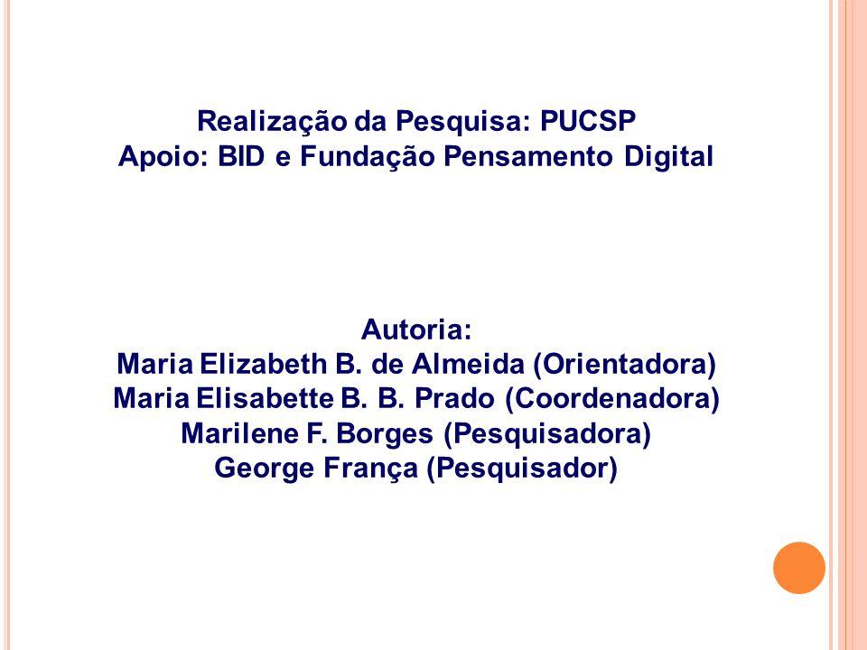 Realização da Pesquisa: PUCSP Apoio: BID e Fundação Pensamento Digital Autoria: Maria Elizabeth B.