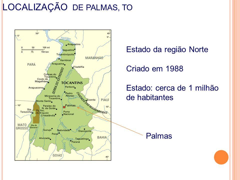 LOCALIZAÇÃO DE PALMAS, TO cotidiano da escola nas práticas do professor e da sino, aprendizagem e gestão Estado da região Norte Criado em 1988 Estado: cerca de 1 milhão de habitantes Palmas