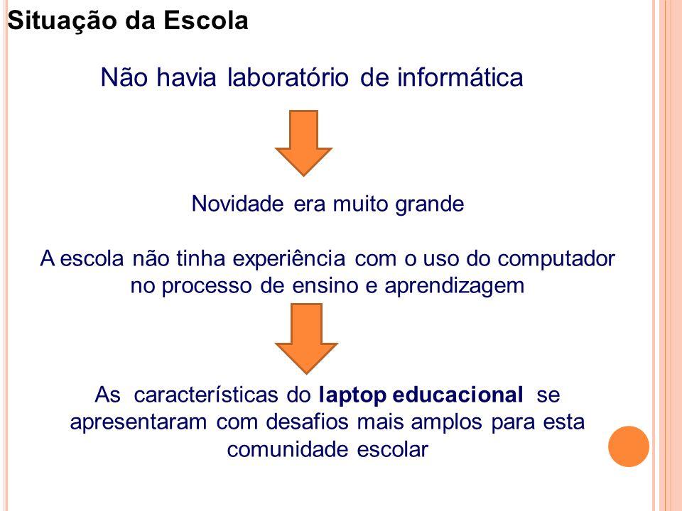 Situação da Escola e gestão Não havia laboratório de informática Novidade era muito grande A escola não tinha experiência com o uso do computador no processo de ensino e aprendizagem As características do laptop educacional se apresentaram com desafios mais amplos para esta comunidade escolar