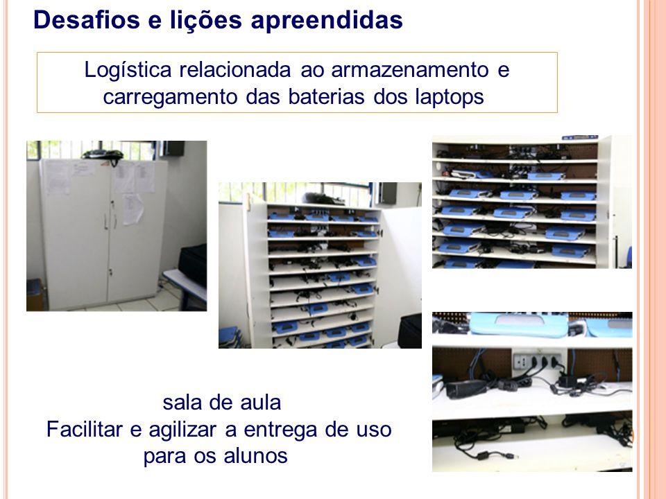 Outras providências de infraestrutura Desafios e lições apreendidas Segurança Mobiliário escolar (carteira flexíveis e com tampo apropriado) Rede elétrica estável Tomadas na sala de aula